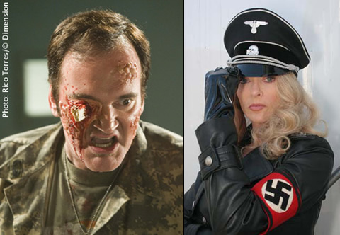 Quentin Tarantino de Death Proof y Sybil Danning en Werewolf Women of the SS